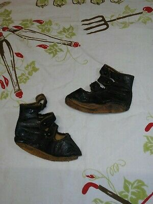 Antique Victorian  Black Leather Button Shoes Boots Baby~Child~ Doll