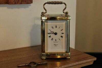 Rapport Heavy Brass Cased Carriage Clock Bevelled Glass Excellent Working Order