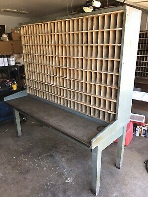 "1957 Antique US Mail Post Office Sorting Desk 6'tall 6'long 29"" Deep"