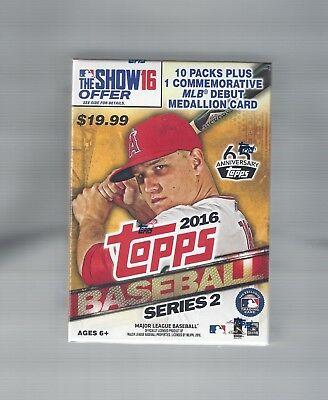 2016 Topps Series 2 Baseball Blaster Box New Sealed With Commemorative Medallion