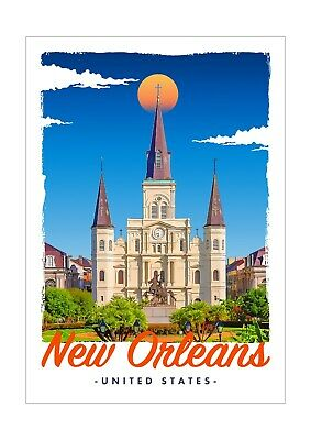 Art Deco Travel Posters Lovely  Retro Holiday Tourism New Orleans  United States