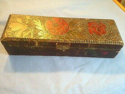 Antique Tramp Art Hand Carved Wooden Box Hinged with engraved Flowers Awesome!