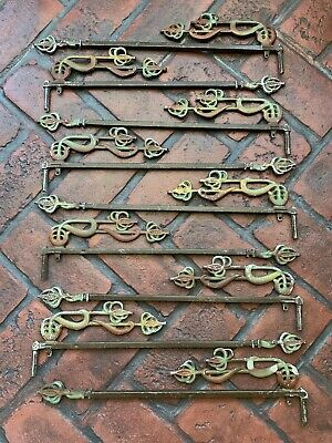 Antique Metal Swing Arms Curtain Drapery Victorian Decorative Extendable Rod (9)