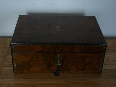 Fine Burr Walnut and Coromandel Writing Slope - Inkwells Working Lock & Key