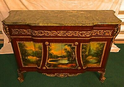 Majestic French Empire Style, Painting Marble Top, Cabinet Commode