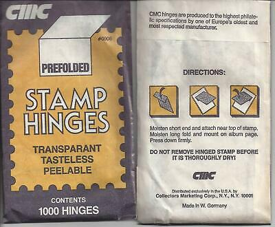 CMC - Pack of 1000 Stamp Hinges - New - Unopened Pack - Pre-Folded