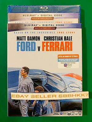 FORD V FERRARI BLU-RAY + DIGITAL Code & SLIPCOVER Brand New Free Shipping