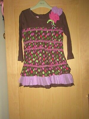 BNWT Girls Beetlejuice  Orange Square Pattern Dress Fully Lined Ages 2-5 years