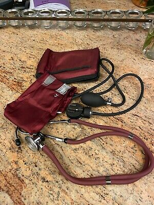 Premium Adult Aneroid Sphygmomanometer with Carrying Case -Model  882 Maroon