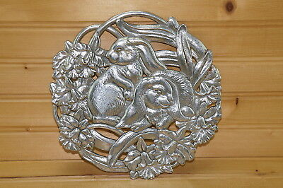 1995 Arthur Court Cast Aluminum Bunnies Rabbit Trivet, 8""