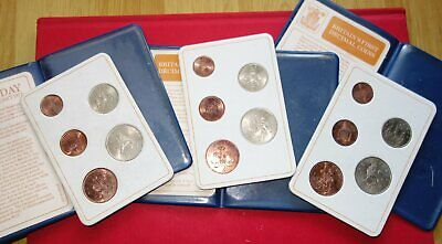 3x Britian First Decimal Coin Sets Presentation Collection UNC  Dates: 1968 1971