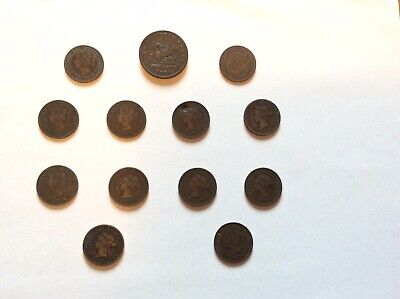 Mixed Lot of 13 Circulated Canadian Coins Bank of Upper Canada + Large One Cent