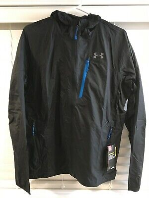NWT Under Armour Storm Mens Black Hoodie Rain Jacket Coat Medium Windbreaker