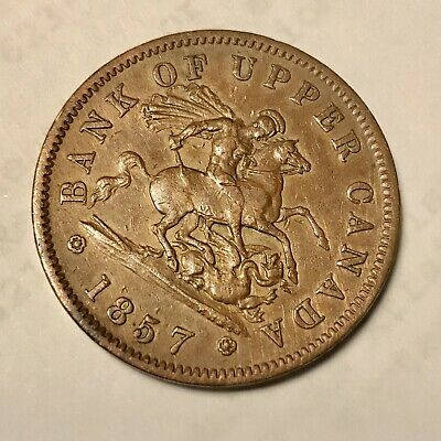 1857 Bank Of Upper Canada One Penny Bank Token  Large Cent  Circulates Condition