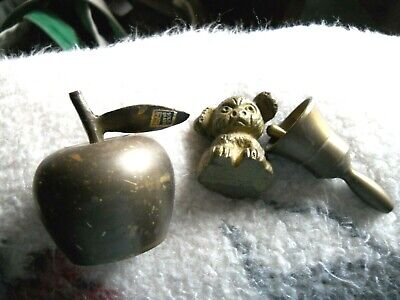 Lot of 3 small brass items - 2 bells and a cute dog