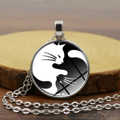 Black White Yin Yang Cat Cabochon Pendant Statement Silver Necklace Jewelry
