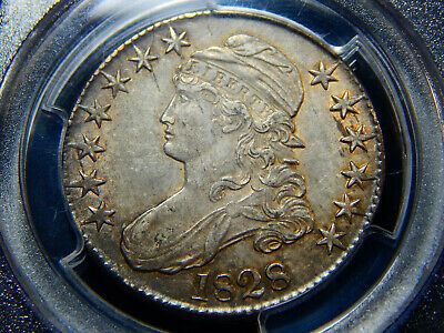 1828 50C Capped Bust Half Dollar Curl Base 2, No Knob AU-55 PCGS/CAC, Original!