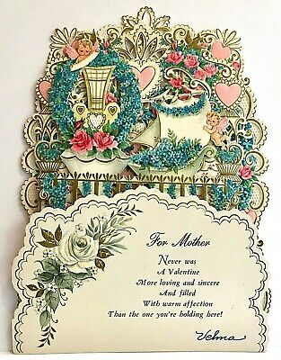 Vntg Hallmark Valentine Embossed Fold Down Book Piece Roses Forget-Me-Not Mother