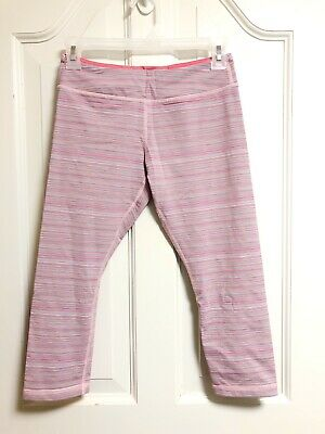 Ivivva By Lululemon Rhythmic Leggings Pink Space Dye Crop Active Striped Size 14