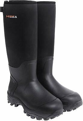 HISEA Hunting Boots for Men Waterproof Mens and Womens Rain, Black, Size 8.0 4LJ