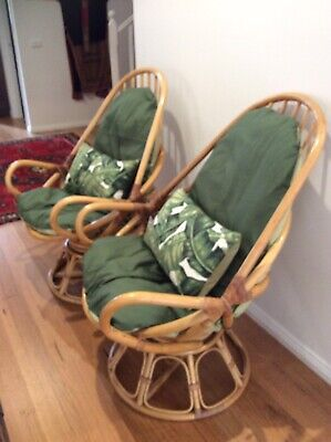 2 X Retro Vintage Cane Swivel Pod Chairs W/New Green Covers