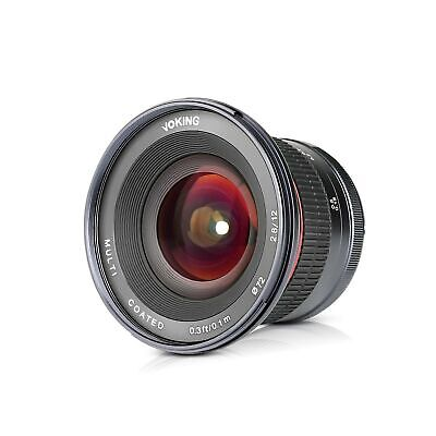Voking 12mm f/2.8 Ultra Wide Angle Manual Fixed Lens with Removeable Hood for...