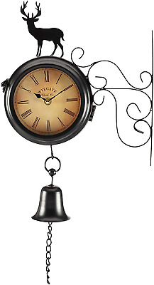 Wyegate Garden Wall Mounted Clock Outdoor Dual Sided 2 in 1 Thermometer Weather