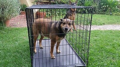 105cm (Large) Steel Wire Dog Cage with Removable Tray - Black