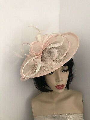 Nude/Blush/Peach & ivory/cream Fascinator Saucer Wedding Hat Formal Hatinator
