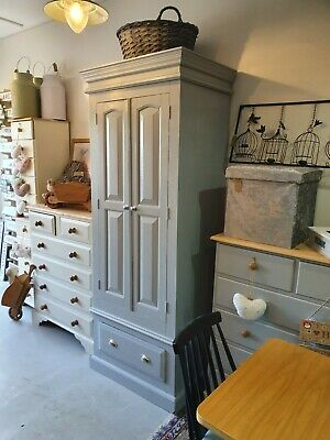 Solid pine Farmhouse Country Wardrobe Painted in Manor House Gray