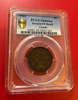 Canada 1901 Queen Victoria Large Cent PCGS VF DETAIL SCRATCH