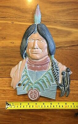 Vintage Native American Indian Wall Plaque Sexton USA Cast Alloy