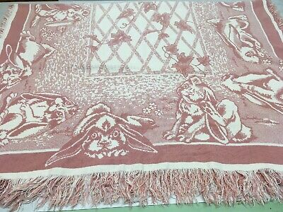 Easter Table Cloth Pink Beige Fringed Rectangle Bunny Rabbit 90's Style 50 x 70