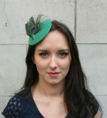Emerald Racing Green Peacock Feather Pillbox Hat Fascinator Hair Clip Races 9067