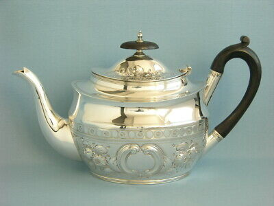 Noble Grosse Teekanne  Massiv Sterlingsilber  Sheffield 1896   1,3 Liter