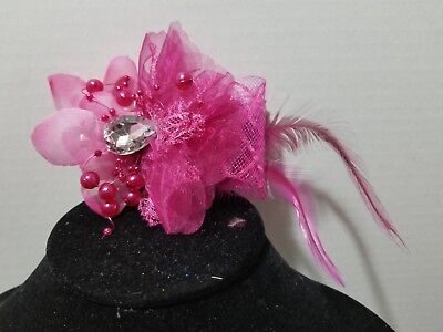 ROSE Beaded Feather Rhinestone Fascinator Hair Clip And Pin Back    H3