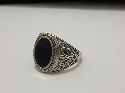 Rare Ancient ROMAN Ring With A Black Color Stone Silver artifact Amazing Piece.