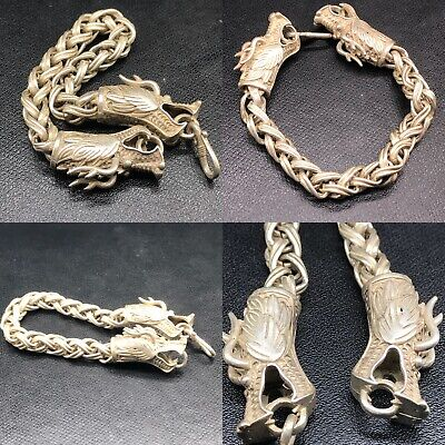 Beautiful Ancient Viking Style Silver Bracelet With Dragon Heads