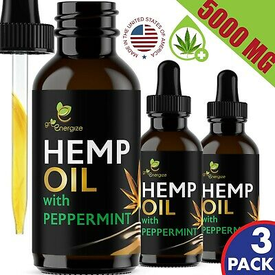 3 PACK 5000 mg Peppermint Hemp Oil For Pain Relief Anxiety Sleep