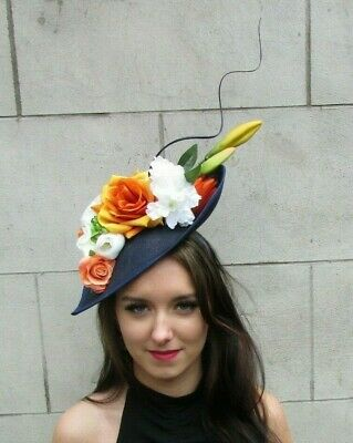 Navy Blue Orange Cream White Floral Large Teardrop Flower Hat Fascinator 9068