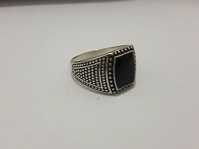 Rare Ancient legionary ROMAN Ring With A Black Color Stone Silver artifact.