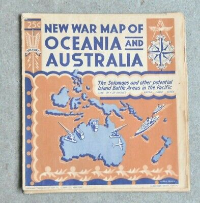 Vintage New War Map Of Oceania And Australia-Rare Original