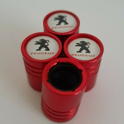 PEUGEOT RED DUST VALVE CAPS 13 colours NON STICK for all Models