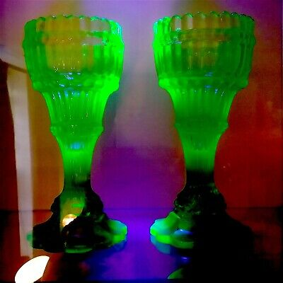 Rare Pair Of Henry Greener 1880 Victorian Uranium Green Glass Crenulated Goblets