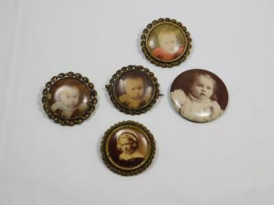 Lot Of 5 Vintage Brass Picture Pins, Childs Photo, Victorian Era         #Bb132