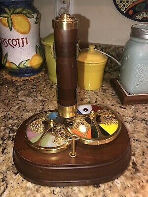 Vintage Wood Brass Stained Glass Wheel Kaleidoscope With Music Box