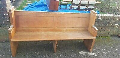 Antique Victorian oak church pew .see details for size below