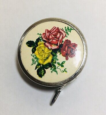 Vintage Tape Measure Seamstress Sewing Tape Made In Germany Rose Floral Design