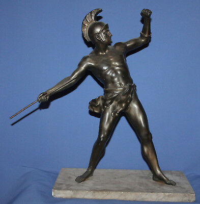 Vintage Hand Made Greek Spear Thrower Bronze Plated Metal Statue