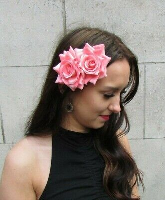 Double Coral Salmon Pink Rose Flower Hair Clip Fascinator Floral Corsage 9070